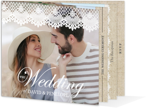 Beautiful Burlap & Vintage Lace Booklet Wedding Invitation