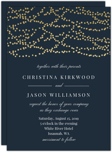 Gold Hanging Lights Wedding Invitation