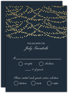 Gold Hanging Lights Wedding Response Card