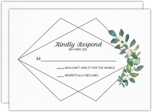 Modern Frame Greenery Wedding Response Card