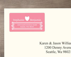 Pink and White Contemporary Address Label