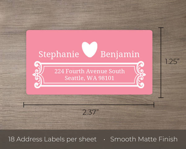 pink and white contemporary address label wedding address labels