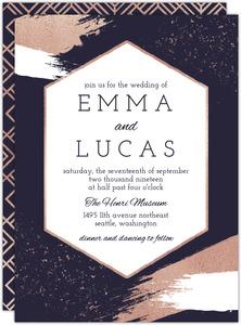 Faux Rose Gold Paintstroke Wedding Invitation