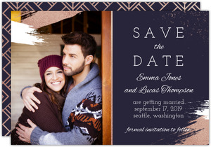 Faux Rose Gold Paintstroke Save The Date Card
