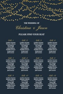 Gold Hanging Lights Seating Chart Poster