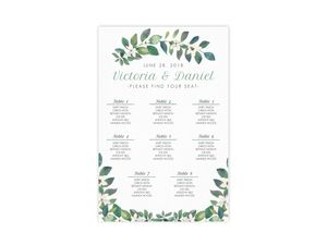 Diamond Frame Greenery Wedding Seating Chart Poster