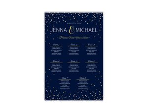 Faux Foil Midnight Stars Wedding Seating Chart Poster