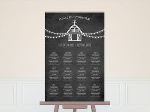 Rustic Barn Chalkboard Wedding Seating Chart Poster