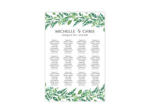 Foliage Garland Wedding Seating Chart Poster