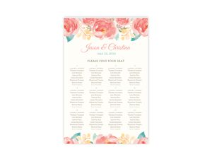 Pink Elegant Watercolor Flower Wedding Seating Chart Poster