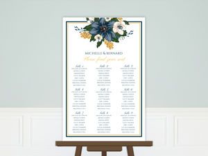 Beautiful Blue Floral Decor Wedding Seating Chart Poster