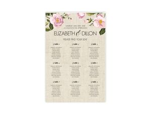 Soft Pink Flowers Wedding Seating Chart Poster
