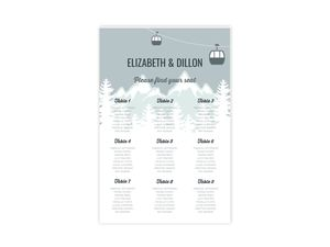 Scenic Winter Mountain Wedding Seating Chart Poster