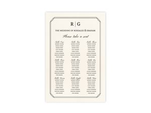 Traditional Double Frame Wedding Seating Chart Poster