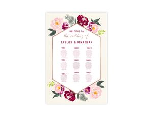 Floral Boho Wedding Seating Chart Poster