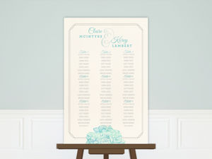 Elegant Watercolor Blooms Wedding Seating Chart Poster