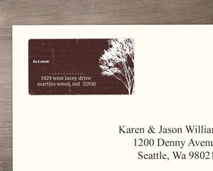 Rustic Country Love Brown and White Tree Address Label