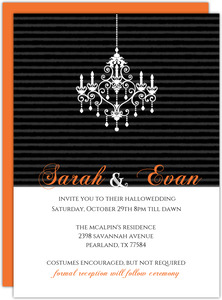 Hauntingly Elegant Striped Chandelier Halloween Wedding Invite