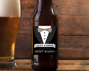Black Tux & Faux Glitter Best Man Wine Label