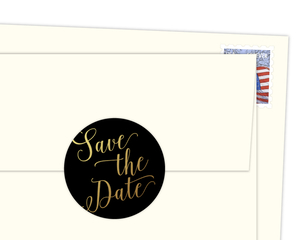 Faux Gold Foil Save The Date Envelope Seal