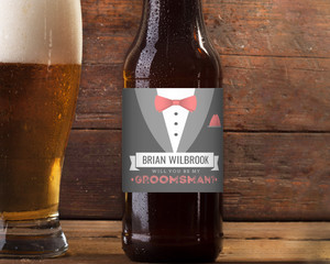 Colorful Tie & Gray Groomsman Beer Label