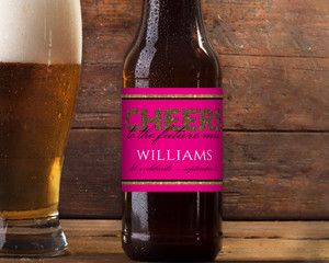 Faux Glitter Zebra Cheers Future Mrs Beer Label