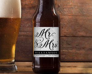 Modern Marble Mr & Mrs Beer Label