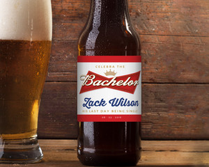 Red & Gray Bachelor Beer Label