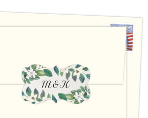 Diamond Frame Greenery Envelope Seal