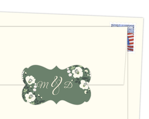 Ivory And Green Floral Envelope Seal