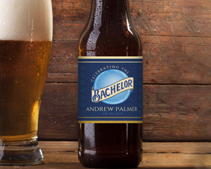 Blue & Faux Gold Moon Bachelor Beer Label