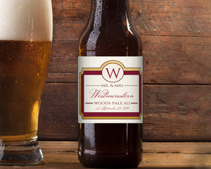 Retro Maroon & Faux Gold Beer Label