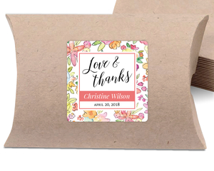 Colorful Watercolor Flower Favor Label