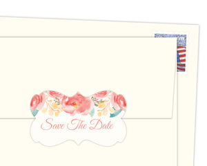 Pink Elegant Watercolor Flower Envelope Seal