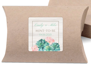Watercolor Succulents Wedding Favor Label