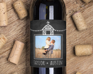 Rustic Barn Chalkboard Wine Label