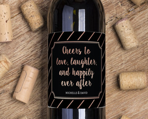 Faux Foil Cheers To Love Wine Label