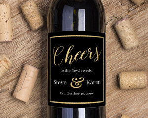 Faux Gold Glitter Cheers Wine Label