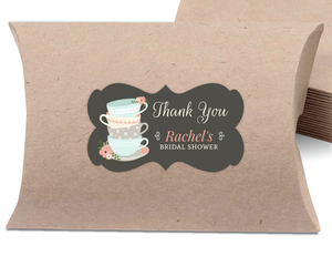 Whimsical Tea Cups Bridal Shower Favor Label