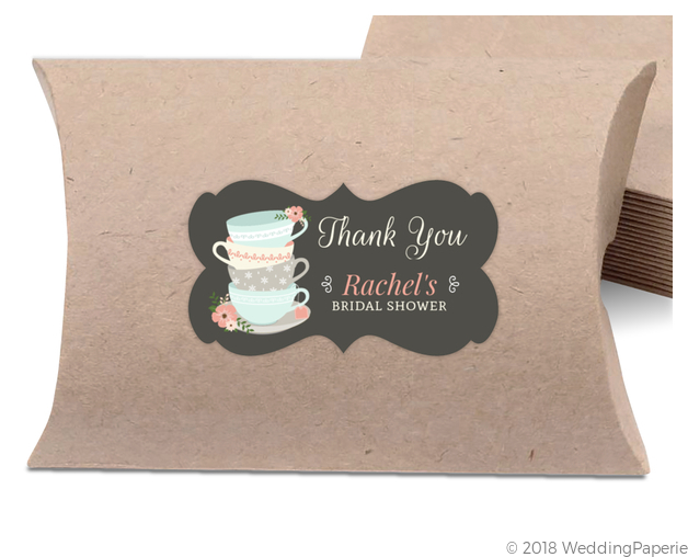 whimsical tea cups bridal shower favor label