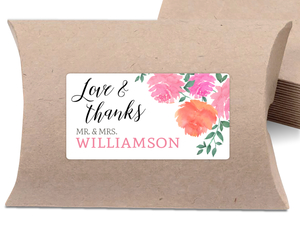 Pink Watercolor Flowers Wedding Favor Label