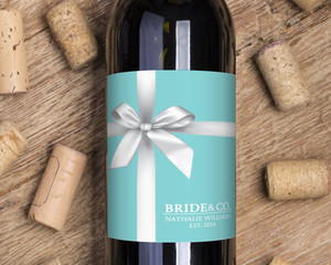 Elegant Teal Gift Wine Label