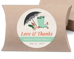 Rustic Rain Boots Bridal Shower Favor Label