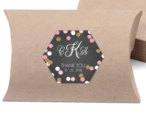 Faux Glitter Confetti Shower Favor Label