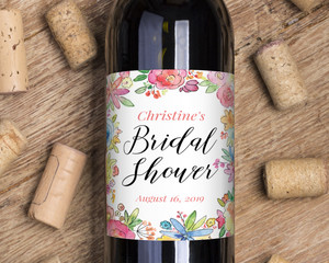 Colorful Watercolor Flowers Wine Label
