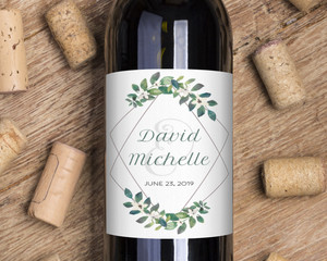 Diamond Frame Greenery Wine Label