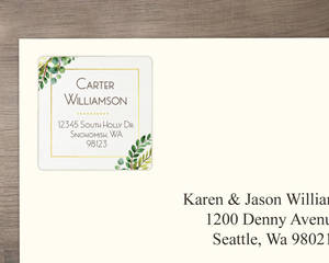 Green Watercolor Foliage Wreath Address Label