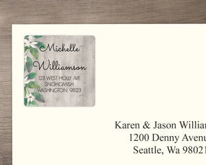 Delicate White Flower And Wood Address Label