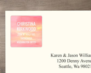 Pink Gradient Watercolor Address Label