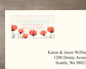 Coral Country Floral Wedding Address Label